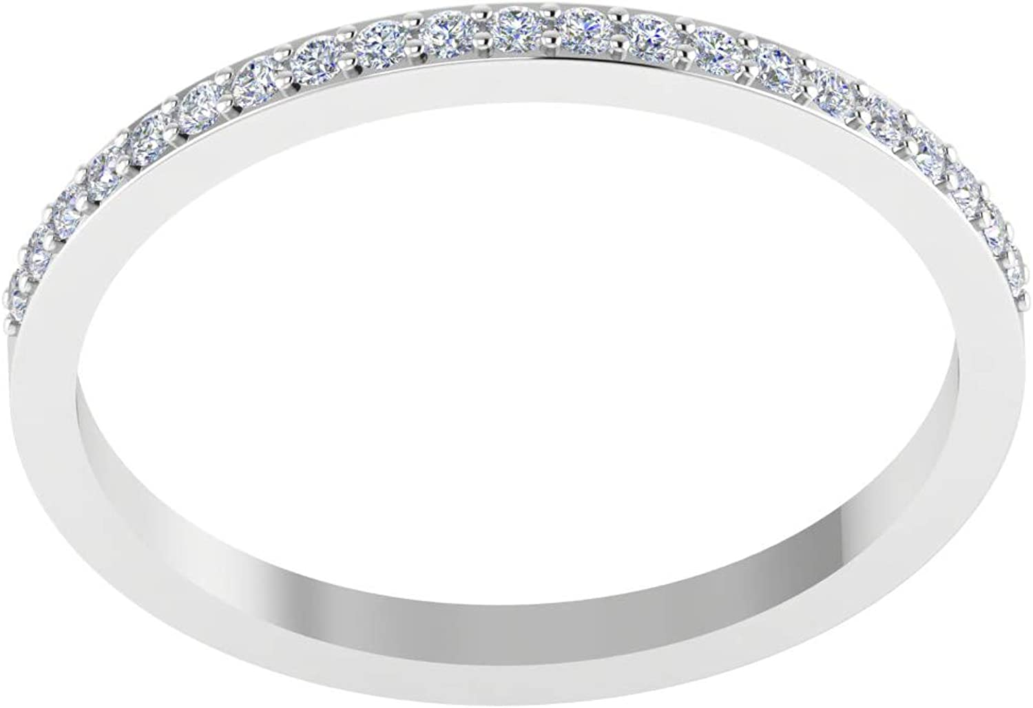 ASHNE JEWELS IGI Certified, 0.17ct White Diamond Eternity Band Ring Fine Jewelry Made in 14K Solid White Gold For Women & Girls