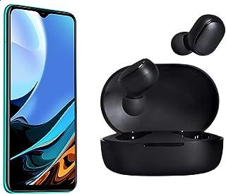 موبايل شاومي ريدمي 9T بشريحتين اتصال، شاشة 6.53 بوصة، 64 جيجابايت، RAM 4 جيجابايت، 4G LTE - اخضر اوشن مع سماعات اذن مي ترو...