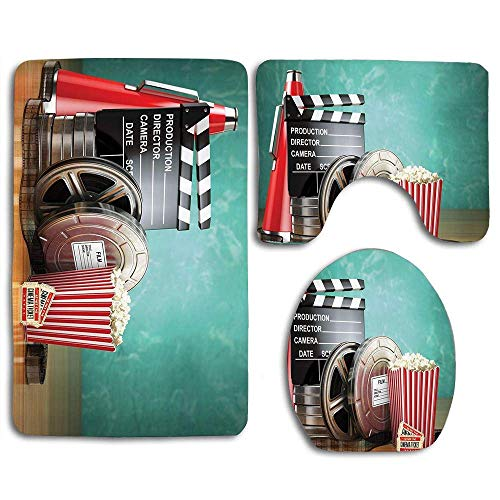 Producción de salas de cine Tema de la película Carretes de películas 3D Claqueta Entradas Megáfono Palomitas Megáfono 3 piezas Juego de alfombras de baño antideslizantes para baño Alfombra de contorn