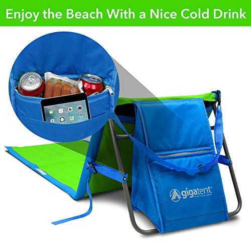 GigaTent Portable Beach Lounge Chair Mat Adjustable Backrest with Cooler Storage...