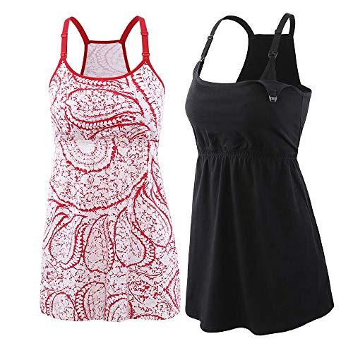 ZUMIY Still-Top, Schwangeres Stillshirt aus Baumwolle- Umstandsmode T-Shirt Damen Still Umstands-Top mit Doppelter Öffnung - Rennfahrer Zurück (XL, Black+Red printing/2pk)