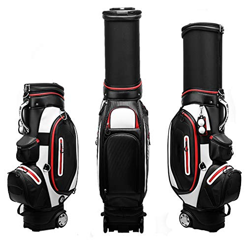 AMAIRS Bolsa De Golf, Bolsa Estándar De Golf para Hombres Bolsa Retráctil Impermeable para Transporte Aéreo con Cubierta A Prueba De Lluvia Y Clip De Bola Adecuado para Uso En Campos De Golf,Negro