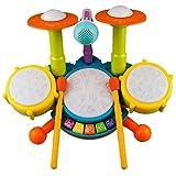 Interesante Conjunto de tambores for niños, juguetes eléctricos del instrumento musical, 2 palillos, batir flash y micrófono ajustable, regalos de cumpleaños for niños y niñas de 1 a 12 años (sin bate