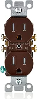 Leviton T5320 15 Amp, 125V, Tamper Resistant, Duplex Receptacle, Residential Grade, Grounding, 10-Pack, Brown