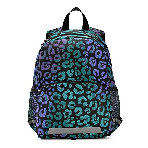 Mnsruu Mochila para niños, estampado de leopardo colorido para niños pequeños, bolsa de viaje para guardería