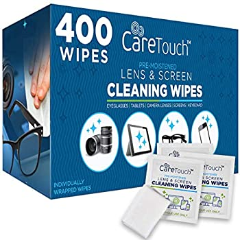 Care Touch Lens Cleaning Wipes | 400 Pre-Moistened and Individually Wrapped Lens Cleaning Wipes | Great for Eyeglasses Tablets Camera Lenses Screens Keyboards and Other Delicate Surfaces