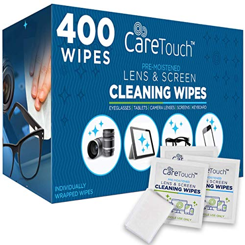 Care Touch Lens Cleaning Wipes - 400 Pre-Moistened and Individually Wrapped Lens Cleaning Wipes - Great for Eyeglasses, Tablets, Camera Lenses, Screens, Keyboards, and Other Delicate Surfaces