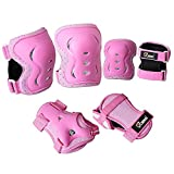 JBM Knee Pad Protective Gear Set Kids (S/M) & Adults (Size L) Cycling Roller Skating Knee Elbow Wrist Protective Pads-Black/Adjustable Size, Skateboard, Biking, Mini Bike Riding (Pink, Small)