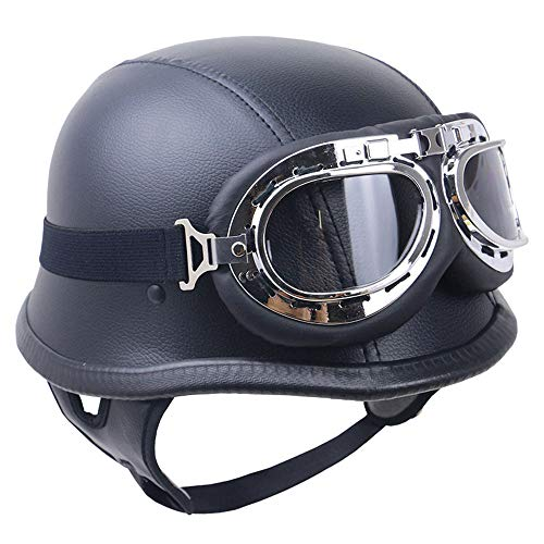 LTongx Vintage Open Face Demi Casque, Casque Harley, tête de Cerveau Bobber Demi-coquilles Jet Casque Dot certifié Moto Scooter Casque avec Lunettes de Pilotage Noir,L(59~60cm)