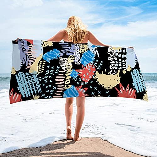 Toallas De Playa De La Serie Graffiti De Estilo Europeo Y Americano, Toallas De Baño De Microfibra, Toallas Rectangulares Absorbentes De Secado Rápido, Toallas Tipo Chal 75 * 150cm
