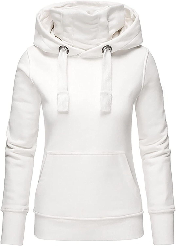 Kanzd Sweatshirts Hoodie for Women Casual Crewneck Sweatshirts Long Sleeve Basic Solid Drawstring Pullover Tops Blouse