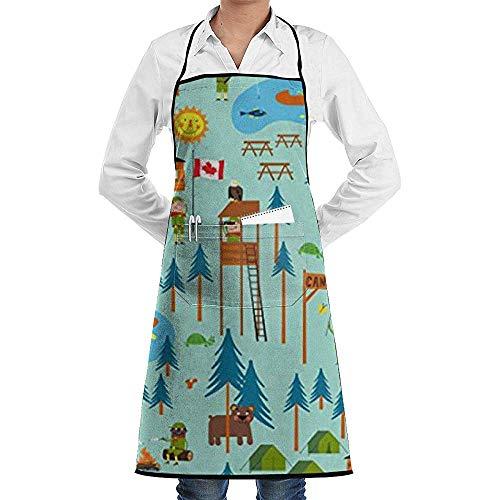 Wthesunshin Pfadfinder Camp Turtle einstellbare Latzschürze mit Taschen Kochen Küchenschürzen zum Kochen Backen Küche Restaurant basteln