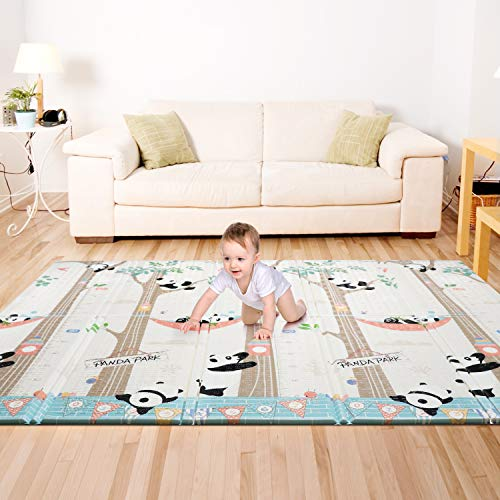 Bammax Tapis de Jeu pour Bébé, Tapis Pliable Imperméable Non Toxique pour Enfant Extra Grand, 197 x 177 x 1,5 cm Tapis Épaissie avec l'Image des Pandas Mignons