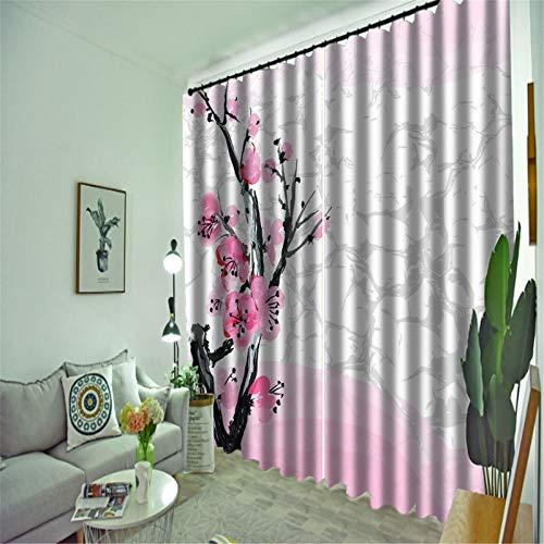FACWAWF Inicio 3D Pintura De Tinta Tridimensional Cortina Dormitorio Sala De Estar Balcón Cortina Opaca 132x160cm(2pcs)