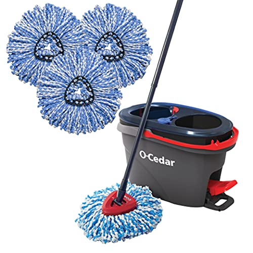 O-Cedar EasyWring RinseClean Microfiber Spin Mop & Bucket Floor Cleaning System with 3 Extra Refills, Grey