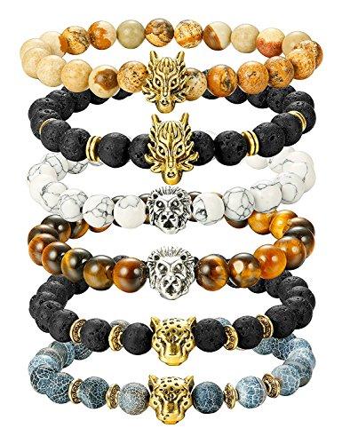 BESTEEL Schmuck 4Pcs Lava Rock Perlen Armbänder für Herren Damen Armband Drache Löwe Leopard Kopf Punk Set Elastisch 8mm tl