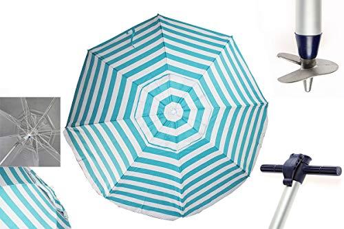 Pincho Sombrillas Playa 2m Aluminio UPF+50 99% UV Punta de Aluminio Reforzado 16 Varillas-Anti torsión. (Rayas Turquesa)