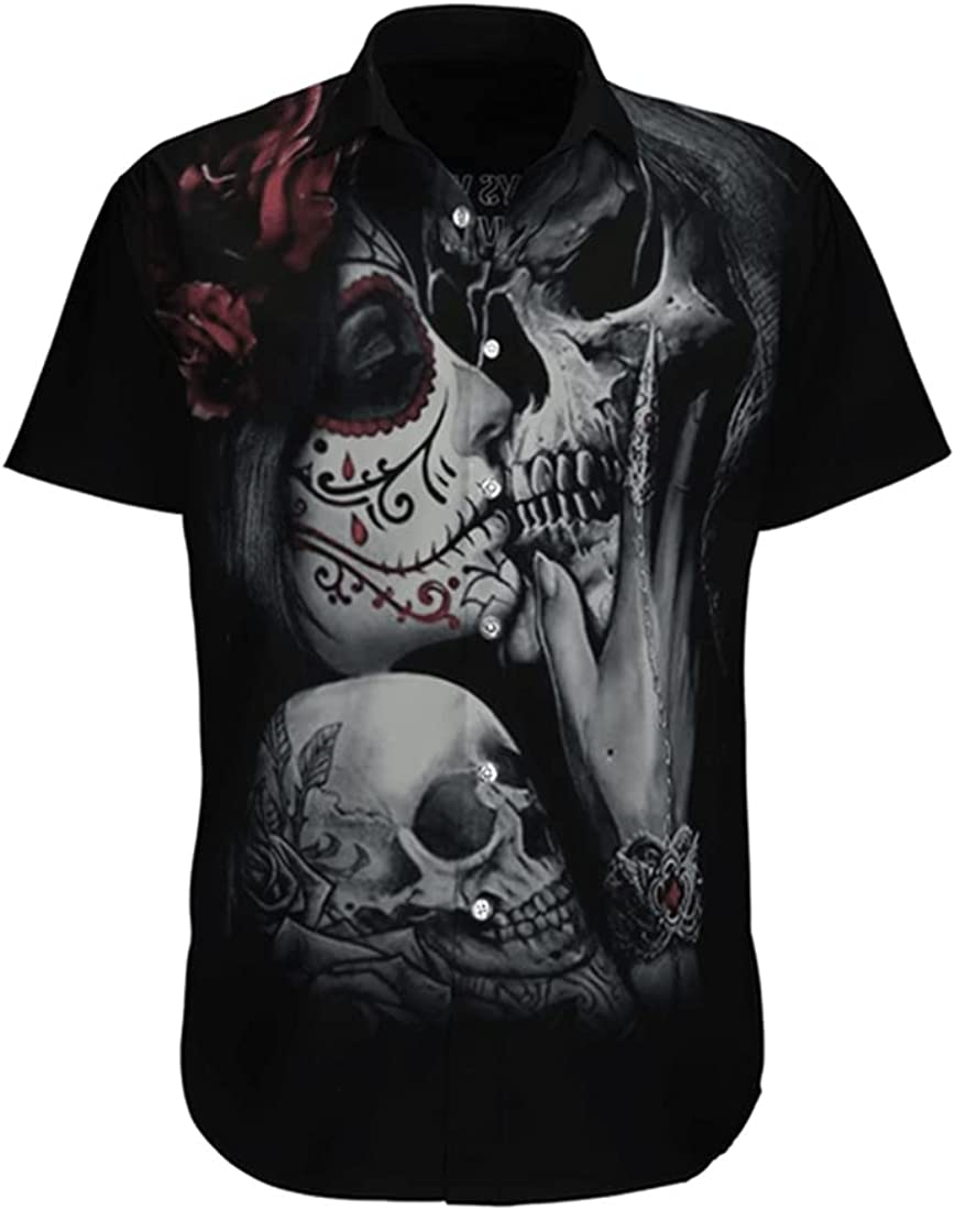Tropical Skull Hawaiian Shirts for Men - Summer Skull Button Down Mens Hawaiian Shirts Short Sleeve Series 162