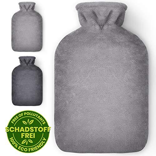 Masringo - Wärmflasche mit Bezug - 1,8L Wärmeflasche mit flauschig weichem Bezug - Bettflasche mit Fleece Cover für Kinder und Erwachsene (Hellgrau)