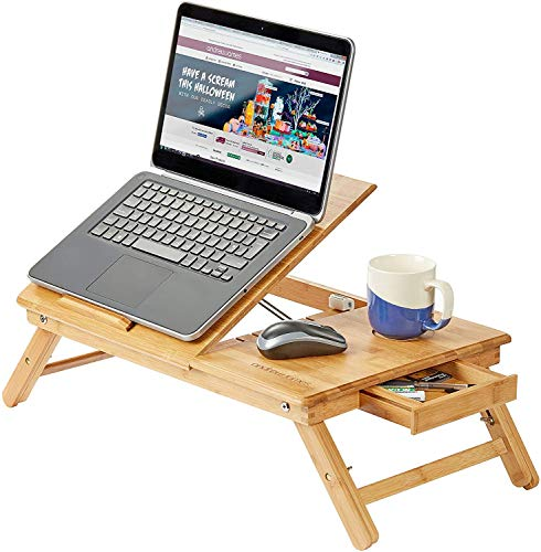 Andrew James Bamboo Lap Tray With Legs | Portable Laptop Stand Table With Drawer and Adjustable Folding Legs To Use On Bed Desk Sofa Couch | Cooling Vents Prevent Overheating & Protect Your Devices