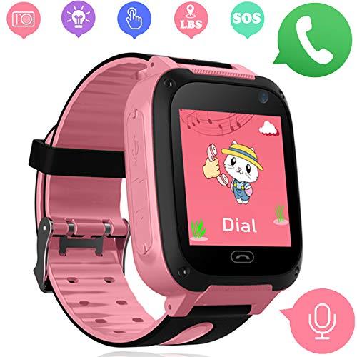 Kids Smartwatch - orologi intelligenti per bambini e bambine con LBS Tracker SOS anti-perso allarme SIM Card slot camera Electronic Learning giocattoli regali di compleanno (Rosa)