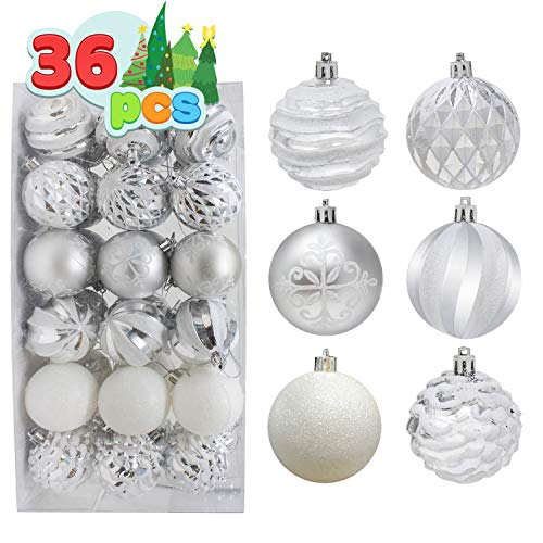 """Joiedomi 36 Pcs Christmas Ball Ornaments, Deluxe Shatterproof Christmas Ornaments for Holidays, Party Decoration, Tree Ornaments, and Special Events (Silver&White, 2.36"""")"""