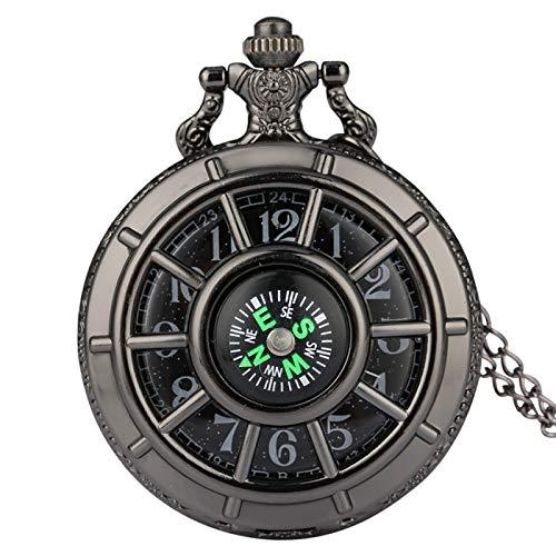 Reloj De Bolsillo Retro,Diseño De Brújula Reloj De Bolsillo Esqueleto Hueco Vintage Esfera Redonda Estrellada Reloj Colgante Antiguo Regalos Retro Hombres Mujeres, Cadena De 30 Cm Negro