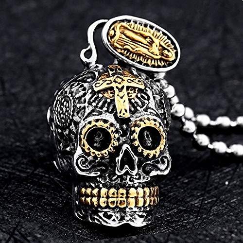 Gothic retro punk style trendy carved cross skull pendant men's domineering popular hip-hop rock accessories Halloween gift