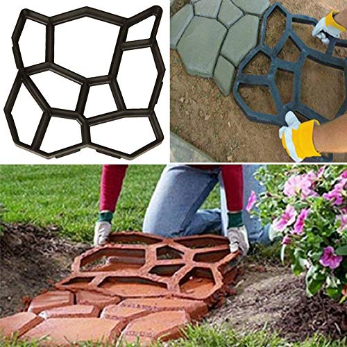 Walk Path Maker, Plus Size: 18.9 x 18.9 x 1.8 inch Pathmate Stone Moldings Paving Pavement Concrete Molds and Foams Stepping Stone Paver Walk Way Cement Mold