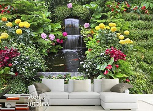 3D Wandbild Frischer Verlockender Gartenwasserfallbrunnen-Wandgemäldehintergrund Des Tapete 3D Tapete, 430Cmx300Cm