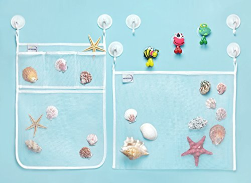 MotherStar Bath Toy Organizer Set – Bath Toy Storage for Toddler: Bath Toy Bag + Bath Toy Net + 6 Strong Hooked Suction Cups + 3 Toothbrush Holders – 100% Water Resistant