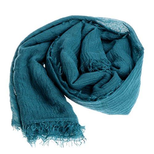 GROOMY Mutterschaft Frauen Islam Maxi Crinkle Cloud Hijab Schal Schal Muslim Long Shawl Stole Wrap - Blue