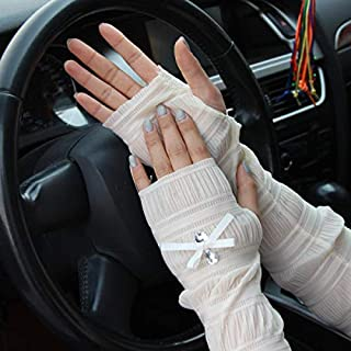 Summer Lady Lace Silk Gloves Printed Long Sleeves Anti-UV Sun Fingerless Arm Multicolor - Beige