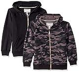Carter's boys 2-pack Full Zip Hoodies Hooded Sweatshirt, Black/Black Camo, 7 US