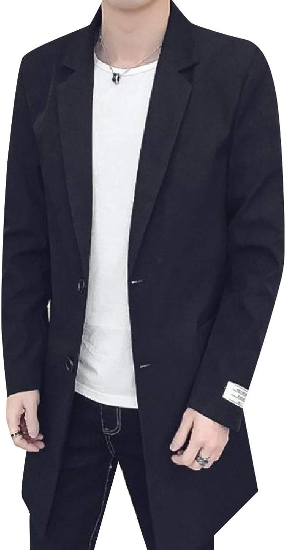Baseby Men Light Weight Raw Cut Hem Slim Casual Trench Coat Jacket