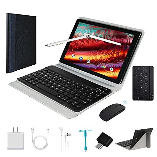 Tablet 10 Pulgadas Android9.0 - Ultrar-Rápido Tableta 4GB RAM+64GB ROM/128GB Expandido -Dual SIM Quad Core Tablets 8000mAh/WI-FI/Bluetooth/GPS,8.0 MP Tablet Android con Teclado (Negro)