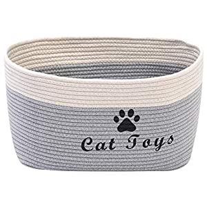 Morezi Cotton Rope Dog Toy Basket with Handle, Large Dog bin, pet Bed, pet Toy Box- Perfect for organizing pet Toys, Blankets, leashes