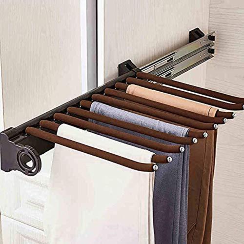 XIA-YGKJ Pantalones Armario Rack, extraíble Pantalones de Acero Inoxidable Estante, Brown