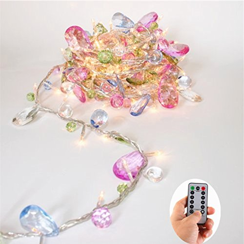 Colorful Jewels Fairy Lights String LED with Remote Battery Operated-8 Mode-Dimmable-Timer,30 Warm White LED Gift Lights for Girl Friend Daughter, Indoor Bedroom Decorative Light String