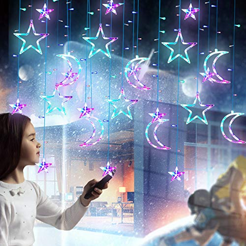 Led Vorhang Lichterketten mit Stern Mond, Lichterketten Vorhang für Zimmer Hausgarten Weihnachten Hochzeit Schlafzimmer Fenster Vorhang Dekoration, Innen / Außen Dekorative Vorhang Lichter Bunt