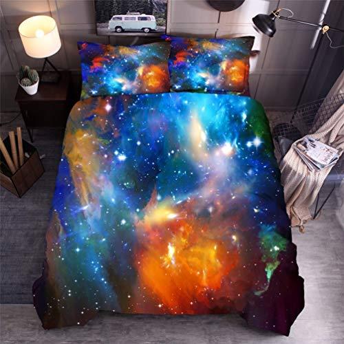 3D Printed Galaxy Sky Cosmos nachtpatroon gekleurde wolken dekbedovertrek set dekbedovertrek kussensloop set voor volwassenen en adolescenten 135 x 200cm