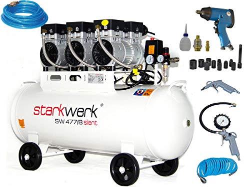 Starkwerk Silent Druckluft Kompressor Flüsterkompressor SW 477/8 Ölfrei 100L Kessel SET