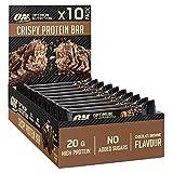 Optimum Nutrition Crispy Protein Bars, Snack Vegetariano Rico en Proteínas, Barritas sin Azúcares Añadidos, Brownie y Chocolate, Envase de 10 x 65 g, Embalaje Puede Variar