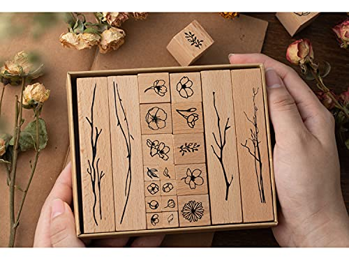 20 Pieces Vintage Wooden Rubber Stamps, Plant & Flower Decorative Mounted Rubber Stamp Set for DIY Craft, Scrapbook, Painting, Letters Diary, Teaching and Card Making