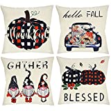 Fall Decor Pillow Covers 18x18 Set of 4 for Home Fall Decorations Farmhouse Thanksgiving Autumn Buffalo Check Plaid Gnomes Pumpkin Outdoor Fall Throw Pillows Decorative Cushion Cases for Couch