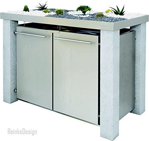 Mülltonnenhaus mit Granitpfosten & Pflanzenwanne 2x240L