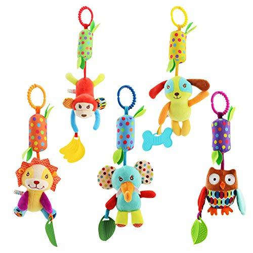 5 paquetes de juguetes para cochecito de bebé, juguetes para cochecito de bebé, accesorios para cuna, juguetes para niños pequeños, tela suave con campana de timbre incorporada, dispositivo BB