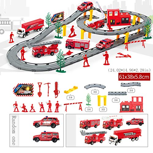 Brandweerwagen Slot Auto Voertuig Race Sets, Kinderen Spelen Trein Spoor Speelgoed Elektrisch Circuit Autoracen, Eenvoudige Montage Baanbaan Puzzel Spoorauto Kleine Trein