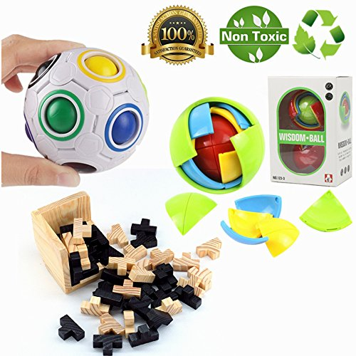 Morbuy Puzzles 3D Juguetes IQ Challenge Toys Puzzle de Cubo para niños Wisdom Ball 3D Intelligence Juego de Pelota Magic Puzzle 100% Child Safe Fidget and Squeeze para Terapia Relajante (3 Pcs)