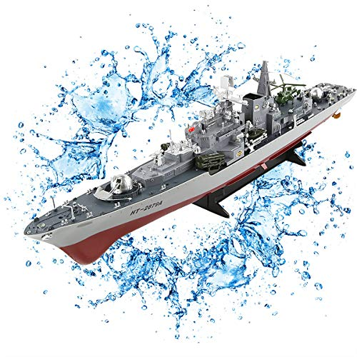 GODLV RC Boot Barca Telecomandata Portaerei per Piscine & Laghi 6Km/H 4 Canali Motoscafo Radiocomandato Alta Velocita Barca da Regata Imbarcazioni Giocattolo Telecomandate Modello Militare